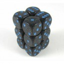 Set 12 dadi D6 16mm Speckled (blu/nero puntinato)