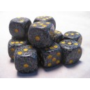 Set 12 dadi D6 16mm Speckled (giallo/grigio-nero)