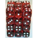 Set 36 dadi D6 12mm Translucent (rosso) CHX23804