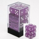Set 12 dadi D6 16mm Frosted (bianco/viola) CHXLE433