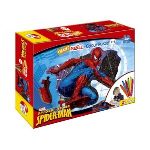 Puzzle 35 pz Giant Colour Plus Double-Face Spider-Man + 6 Jumbo Colouring Pens Art.39869